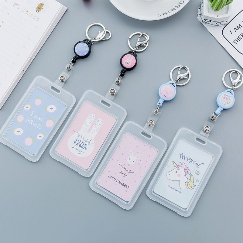 Cute Cartoon Retractable Badge Card Holder Pull ID Name Card Badge Holder Protection School Office Supplies Credit Card Case
