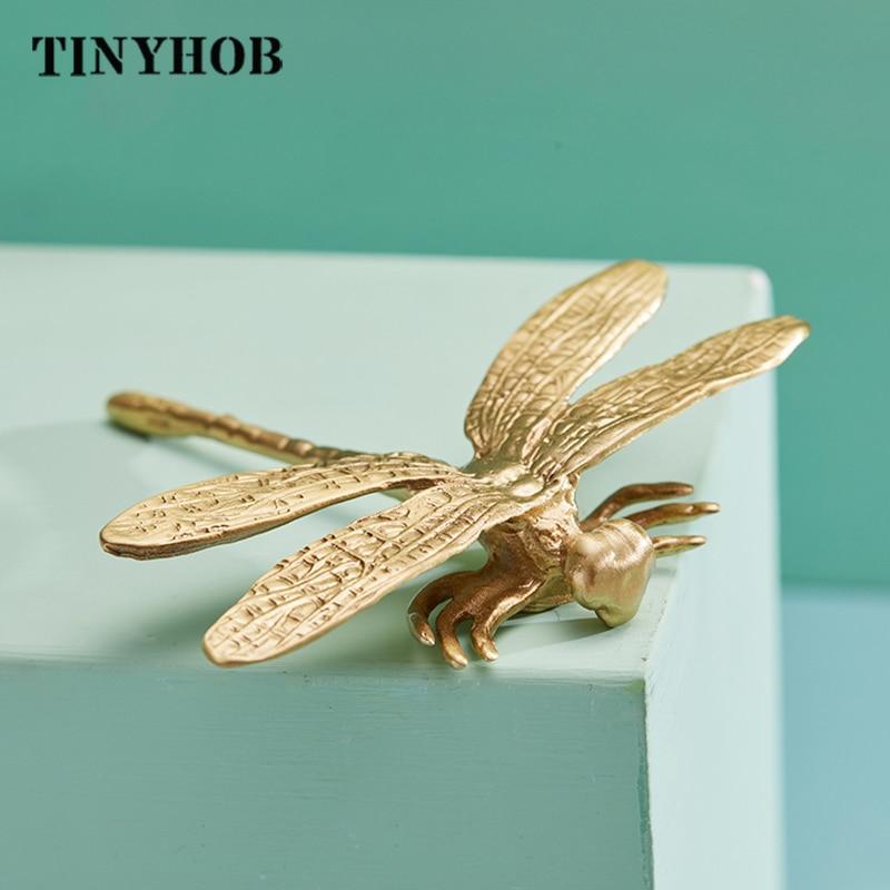 Forma de libélula/botões de bronze armário puxa puxadores de gaveta armário de cozinha alças de móveis lidar com ferragem