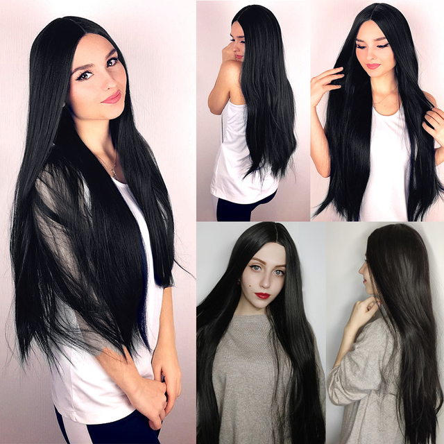 AISI HAIR Long Straight Black Wig Synthetic Wigs for Women Natural Middle Part Lace Wig Heat Resistant Fiber Natural Looking Wig 5