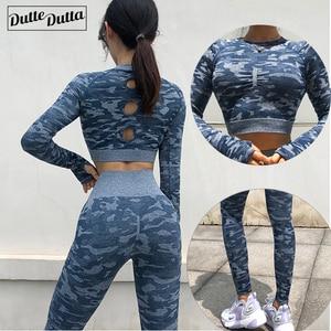 Image 1 - Nieuwe 2 Stuk Naadloze Gym Kleding Yoga Set Fitness Workout Sets Yoga Out Past Voor Vrouwen Atletische Legging Vrouwen sportkleding Pak