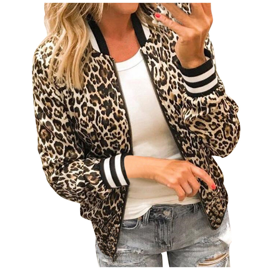 Womens Jackets Ladies Retro Leopard Printing Zipper Up Jackets Winter Casual Coat Outwear chaqueta mujer куртка женская #30