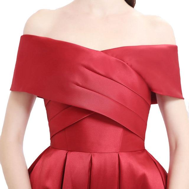 Plus size prom party evening dresses vestido de noiva sereia gown boat neck robe de soiree prom party satin pleat dress soirée 6