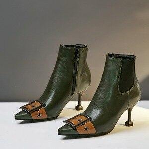 Image 4 - 패션 블랙 그린 부츠 여자 유럽 버클 발목 부츠 섹시한 하이힐 빈티지 pu 가죽 레이디 신발 대형 사이즈