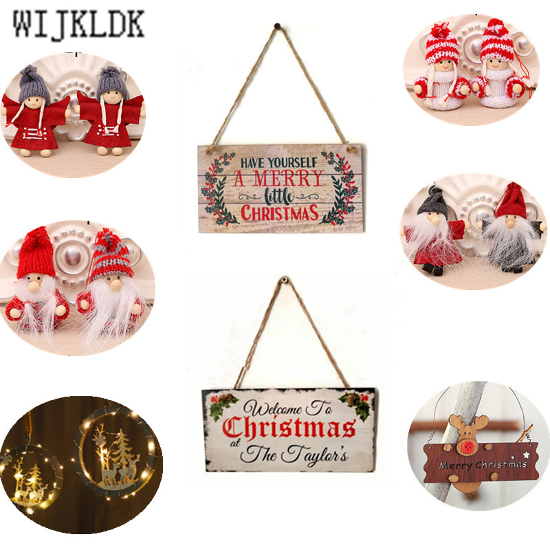 1pcs 20cm Christmas Ornaments Wooden Christmas Pendant Christmas Door Hanging Christmas Decoration For Home Noel Navidad-S