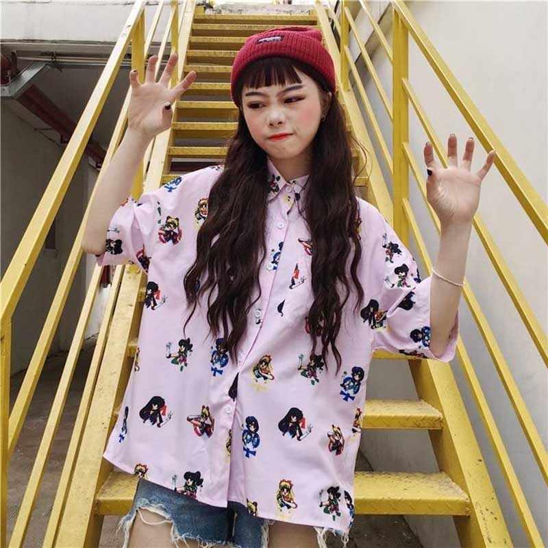 NiceMix 2019 קיץ Harajuku קצר שרוול חולצה נשים הדפסת סיילור מון גבירותיי Kawaii חולצות חולצה מזדמן בתוספת גודל נקבה Blusas