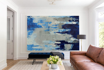 Abstract Painting Large Wall Art Modern Painting Abstract Paintings On Canvas Art Gray Painting Blue Painting Home Decor