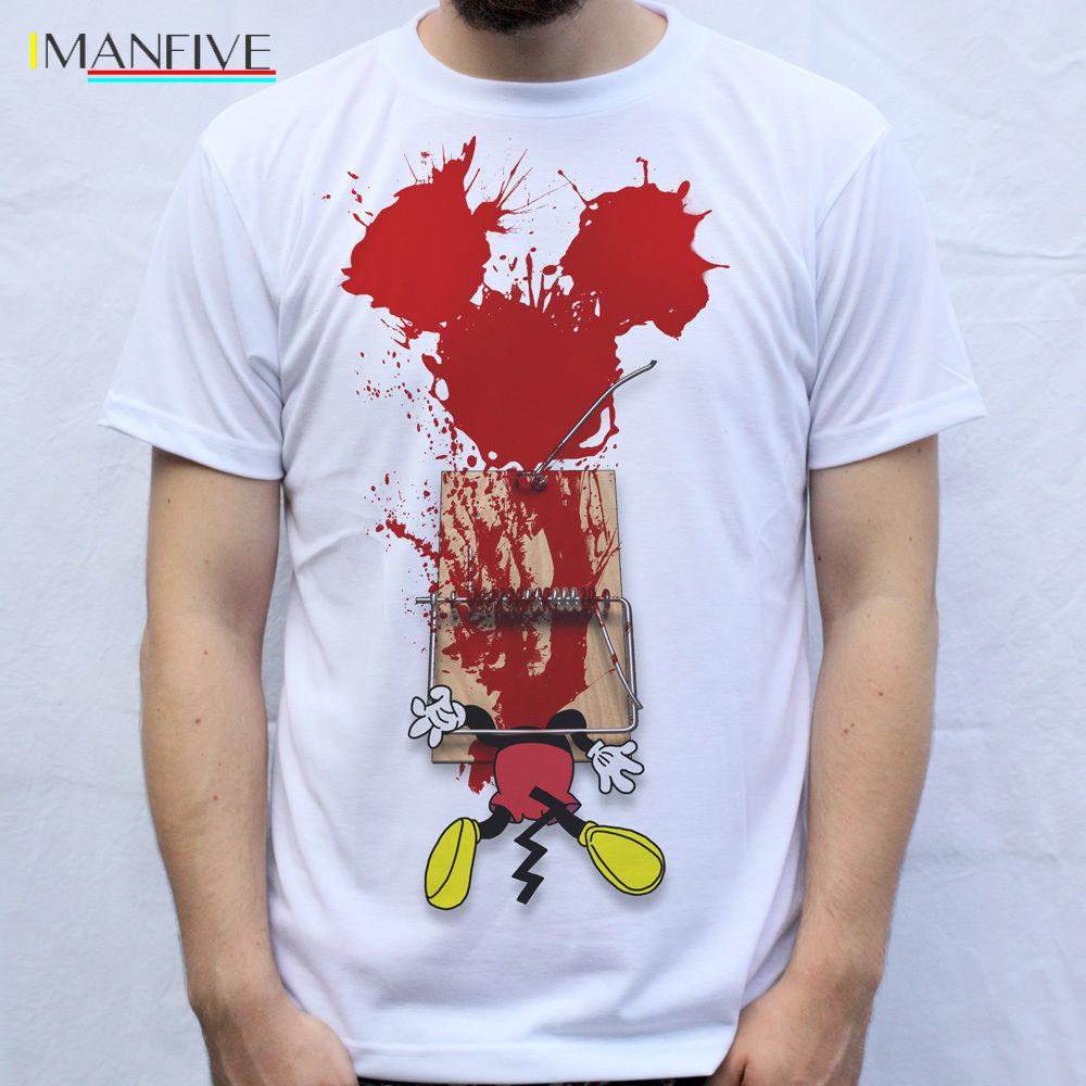Mickey T Shirt men fashions Design Trap Trapped Mickey cartoon print 100% Cotton white Short Sleeve O-Neck Tops Tee Shirt Homme