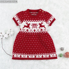 Knitted Baby Clothes Christmas Baby Dress 100% Cotton Deer C