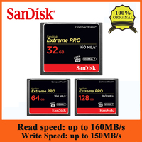 SanDisk CF Card Extreme PRO 32GB 64GB 128GB Memory Cards High Speed 160MB/S Compact Flash Card for DSLR Camrea and HD Camcorder