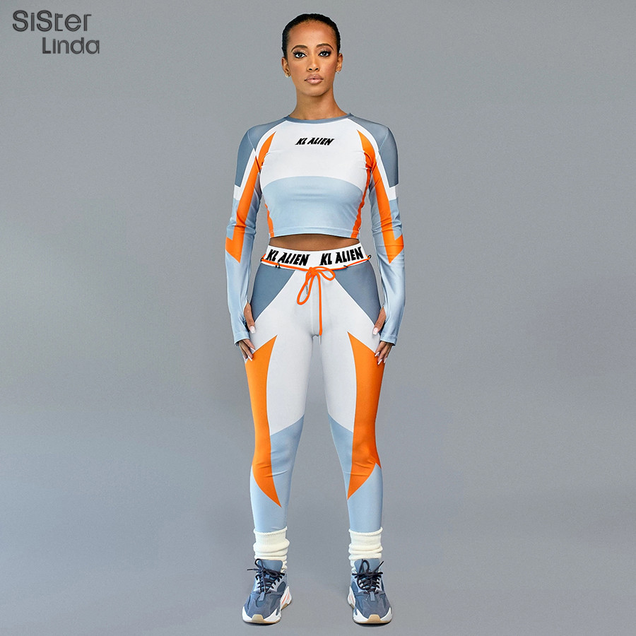 Sisterlinda Letter Print Skinny Fitness Tracksuit Set Women Elasticity Crop Tops Leggings Two Pices Sets Mujer New T-shirt Pants