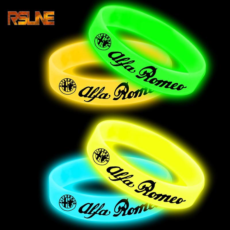 Luminous Car Badge Silicone Holographic Bracelet Sport Wristband For Alfa Romeo 159 147 156 Giulietta Car Accessories Styling
