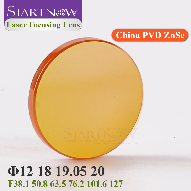Startnow Focusing Lens Laser 20 19 18 15 12mm FL 50.8 - 127mm For CO2 Laser Cutting Carving Machine China ZnSe PVD Laser Lenses