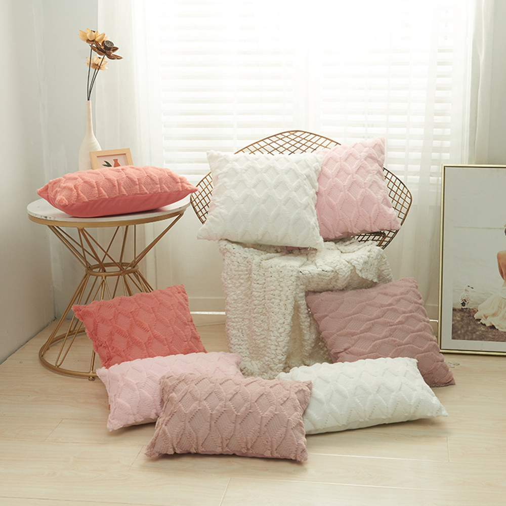 ADOREHOUSE Plush Decorative Pillow Covers Luxury Pink Cushion Case Beige Pillow Shell for Sofa Bedroom