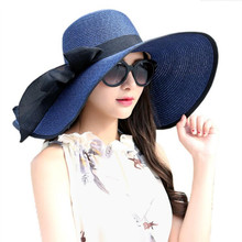 Willow Valley Fashion Large Brimmed Straw Hats Summer Pink Flower Outdoor Big Bowknot Collapsible BeachSun