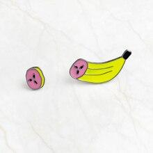 2pcs/set slicing up bananas Brooch Button enamel pin Sliced Banana Denim Jackets Pin Badge Cartoon Food Fruit Jewelry