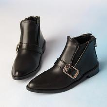 BJD Black Short Boots Bussiness Shoes Flats Synthetic Leather For 70cm Tall SD17 Male DK DZ AOD DD Doll
