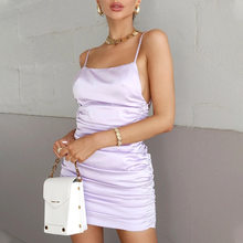 Summer Women Satin Folds Mini Dress Pink Spaghetti Strap Sleeveless Sexy Backless Club Party A-Line Dress Fashion Female Vestido