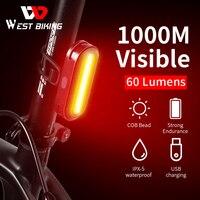 WEST BIKING-luz trasera LED recargable por USB, accesorios para bicicleta, 6 modos de seguridad en ciclismo, casco, bolsa, lámpara de montaña