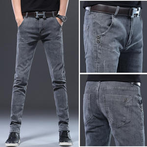 big size 2019 winter new plus size men's casual jeans brand clothing large size stretch denim jeans male gray slim feet pants
