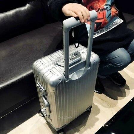 Alüminyum magnezyum alaşımlı bavul kadınlar Metal İntegral oluşturan bavul erkekler High end TSA Spinner bagaj