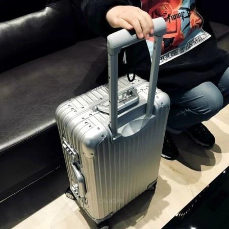 Maleta de aleación de aluminio y magnesio para hombre y mujer, Maleta de Metal Integral, maletas giratorias TSA de alta gama