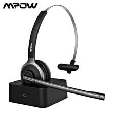 Mpow M5 Pro 무선 헤드폰 Bluetooth Over Ear Krystal PC 노트북 용 마이크 충전베이스가있는 소음 제거 헤드폰
