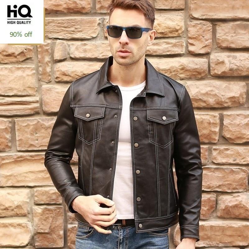 New Luxury Sheepskin Real Leather Jackets Men Cowboy Style Vintage Slim Genuine Leather Coats Casual Fashion Lapel Moto Jacket