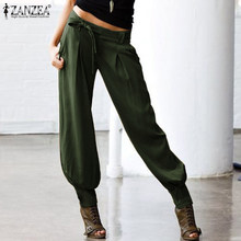 ZANZEA Women Low Waist Sexy Pants Ladies Casual Back Elastic Waist Long Trousers Female Cargo Pockets Belted Harem Streetwear(China)