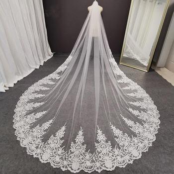 Long Lace Bridal Veil with Comb 1 Layer 3.5 Meters White Ivory Wedding Plus Size Cathedral Headpiece 2020