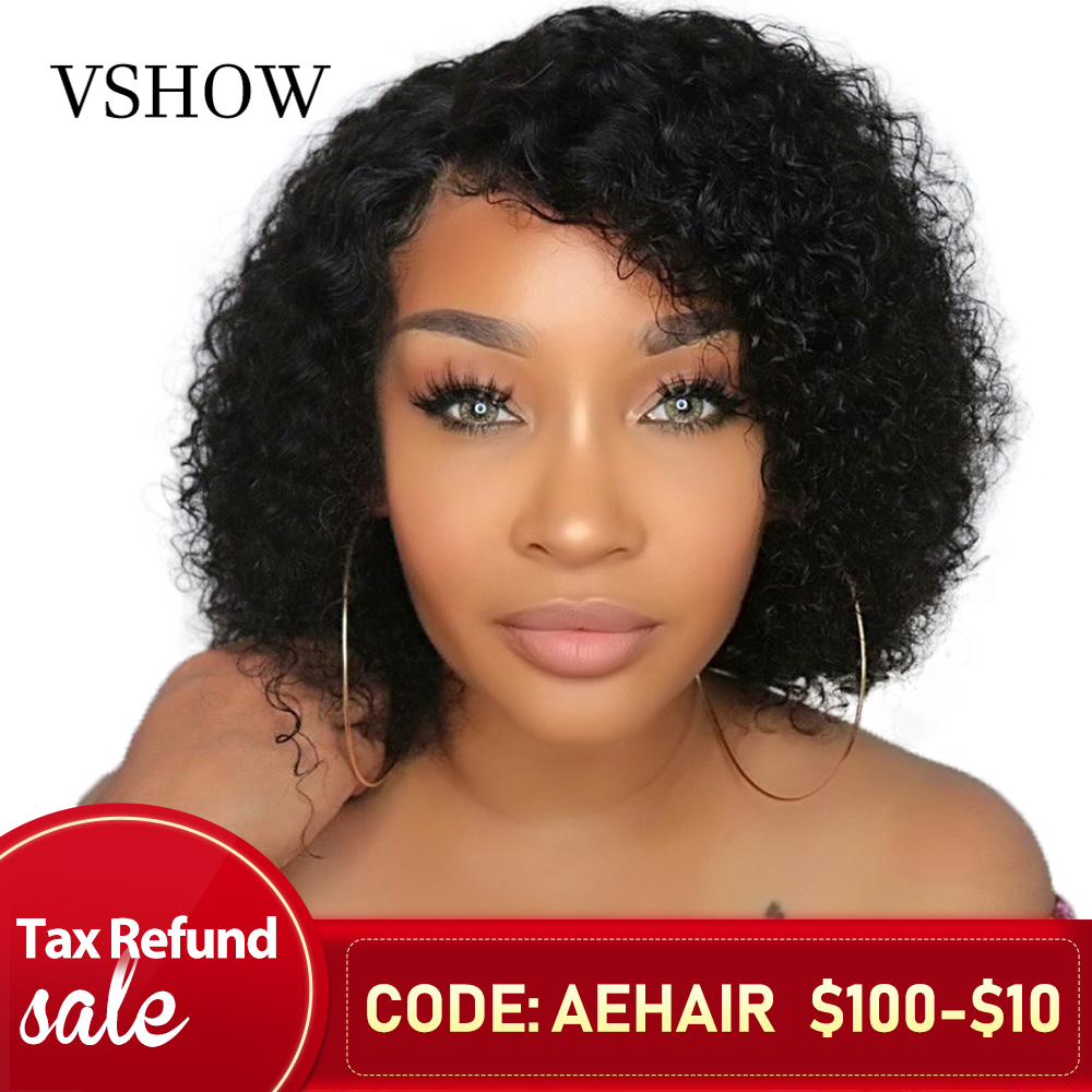 VSHOW 13X4 Malaysian Water Wave Short Bob Wigs With Baby Hair Remy Lace Front Human Hair Wigs 130% 150% 180%  Lace Front Wigs