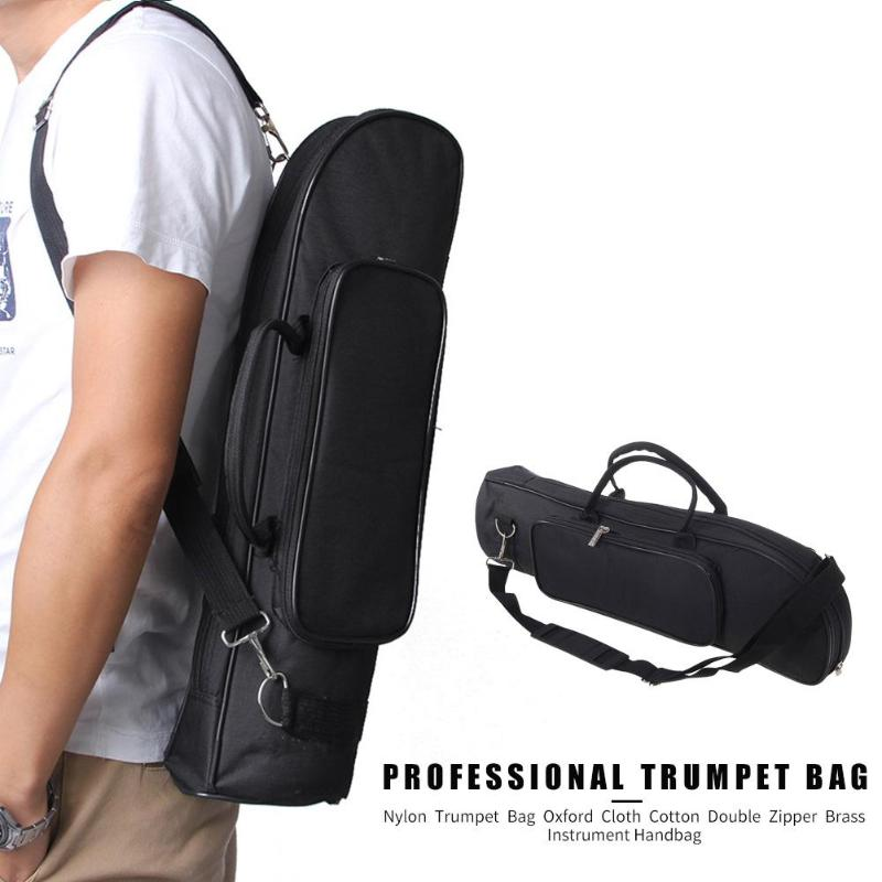 Nylon Solid Black Color Oxford Cloth Cotton Professional Trumpet Bags Double Zipper Handbags Case For Brass Instrument