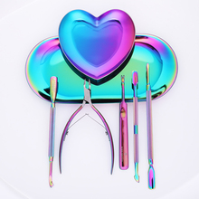 1 Pc Metal Heart Colorful Storage font b Case b font Nail Jewelry Empty Container Palette
