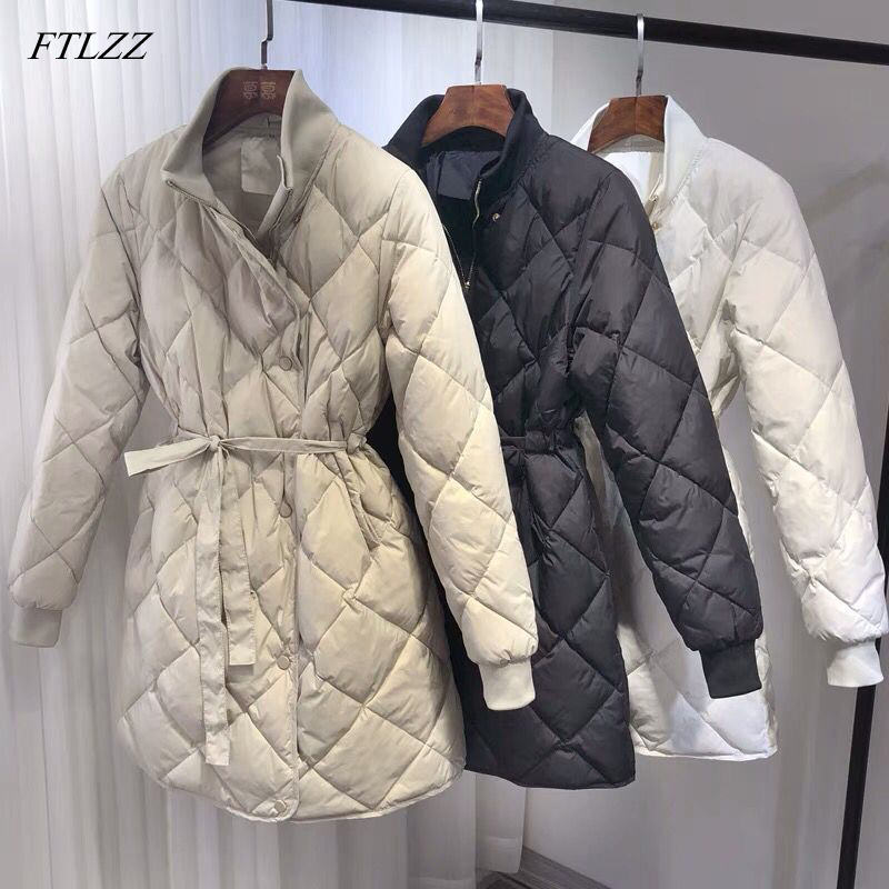 FTLZZ New Ultra Light White Duck Down Parkas Women Winter Jacket Turtleneck Collar With Belt Slim Jacket Female Long Snow Coats