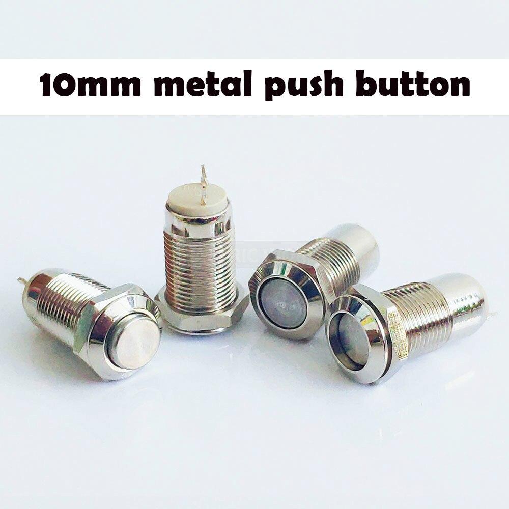 10mm 2pin painel buraco interruptor de botão de metal travamento de energia botão plana alta cabeça auto travamento/redefinição de solda ip67 1no