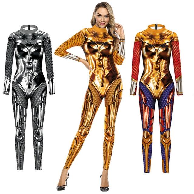 WW84 Wonder Woman 1984 Diana Prince Cosplay Costume Bodysuit Zentai Suit Jumpsuit Halloween