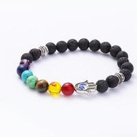 Vente chaude accessoires 8mm sept Chakra Yoga volcanique paume Bracelet hommes femmes bijoux Bracelet