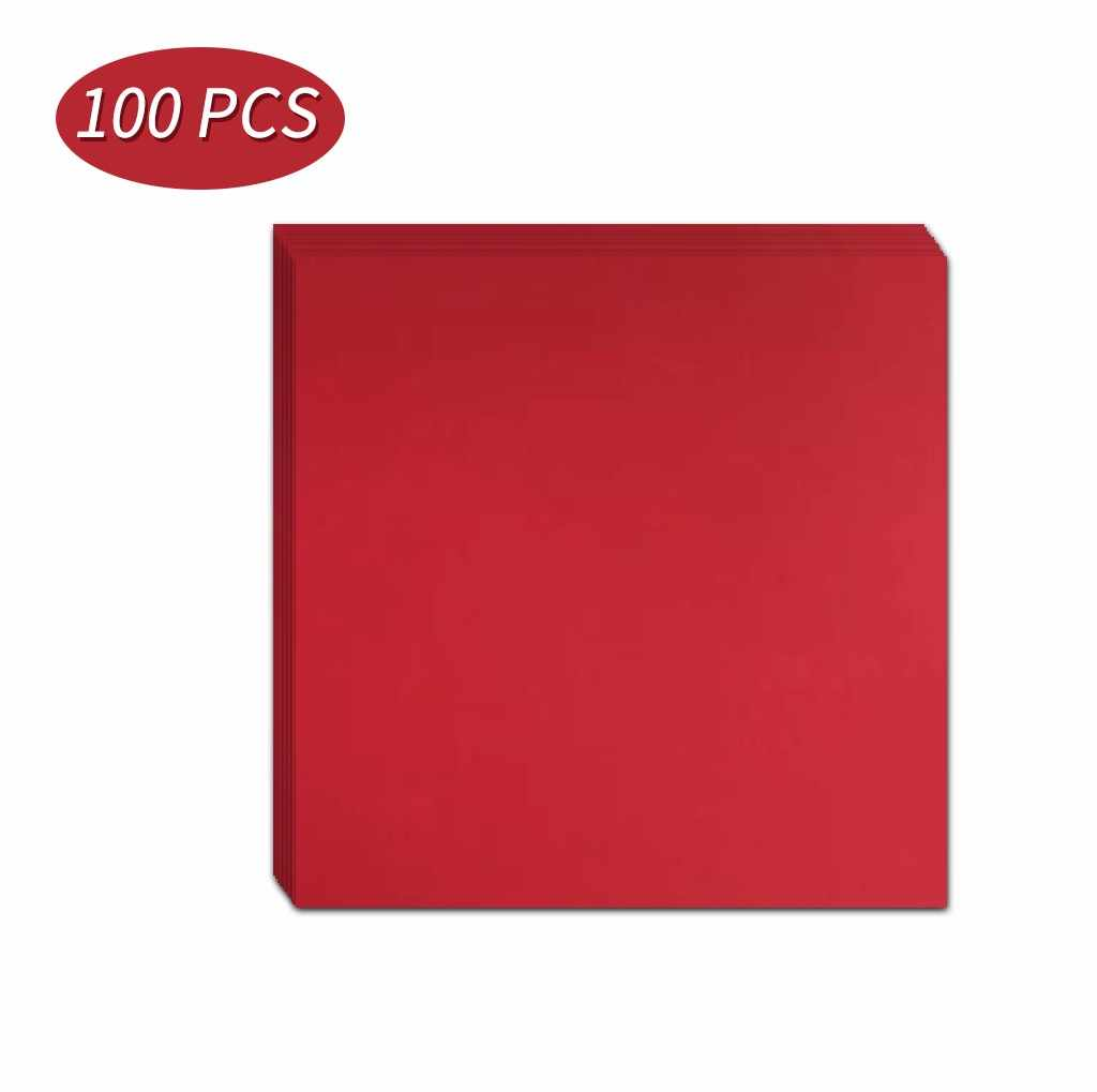 100 Pcs 10/15/20 ซม.ตัดพับวัสดุ DIY กระดาษคราฟท์สแควร์ Red Party เด็กเล่นกระดาษคราฟท์มือเครื่องมือ