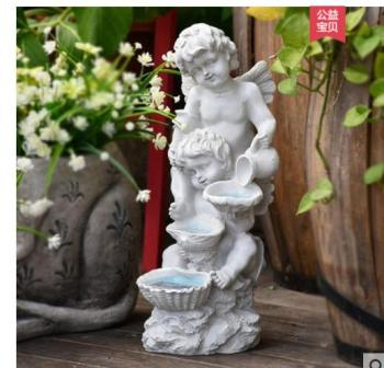 Angel boy decorative garden villa angel modeling with lights resin crafts farmhouse outdoor design creative