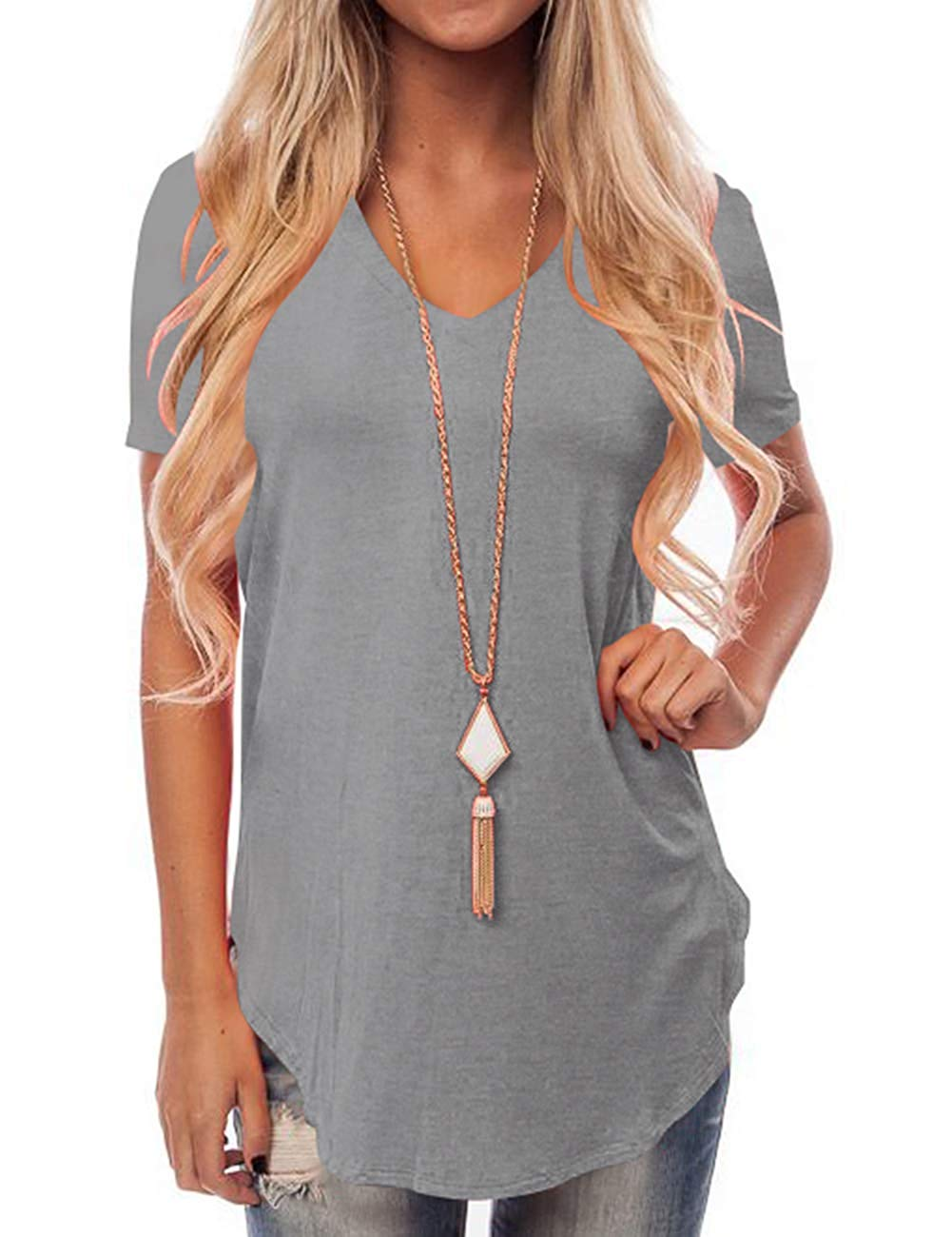 öCloseout DealsWomen's Short Sleeve V-Neck Loose Casual Tee T-Shirt Tops Three Quarter Full⌡