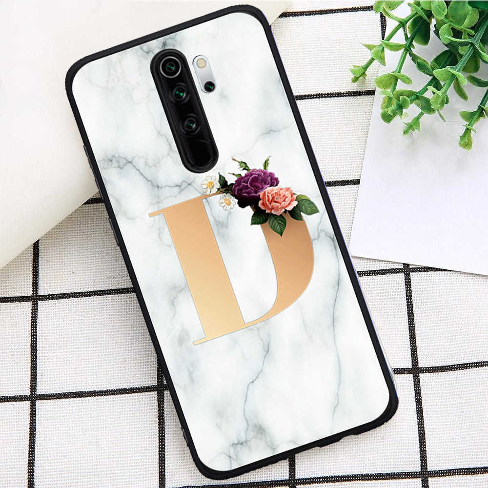 Custom name Letter Monogram Marble Soft TPU Phone Case for Xiaomi Mi 9T Redmi Note 5 6 7 8 K20 9T Pro Soft Silicone TPU Coque