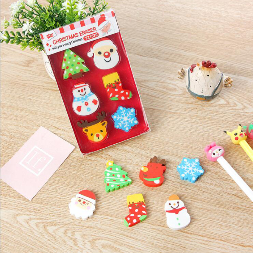Creative Cartoon Christmas Gift Tree Socks Snowflake Snowman Shape Pencil Erasers Gift, School Reward Supplies Kids Stationery