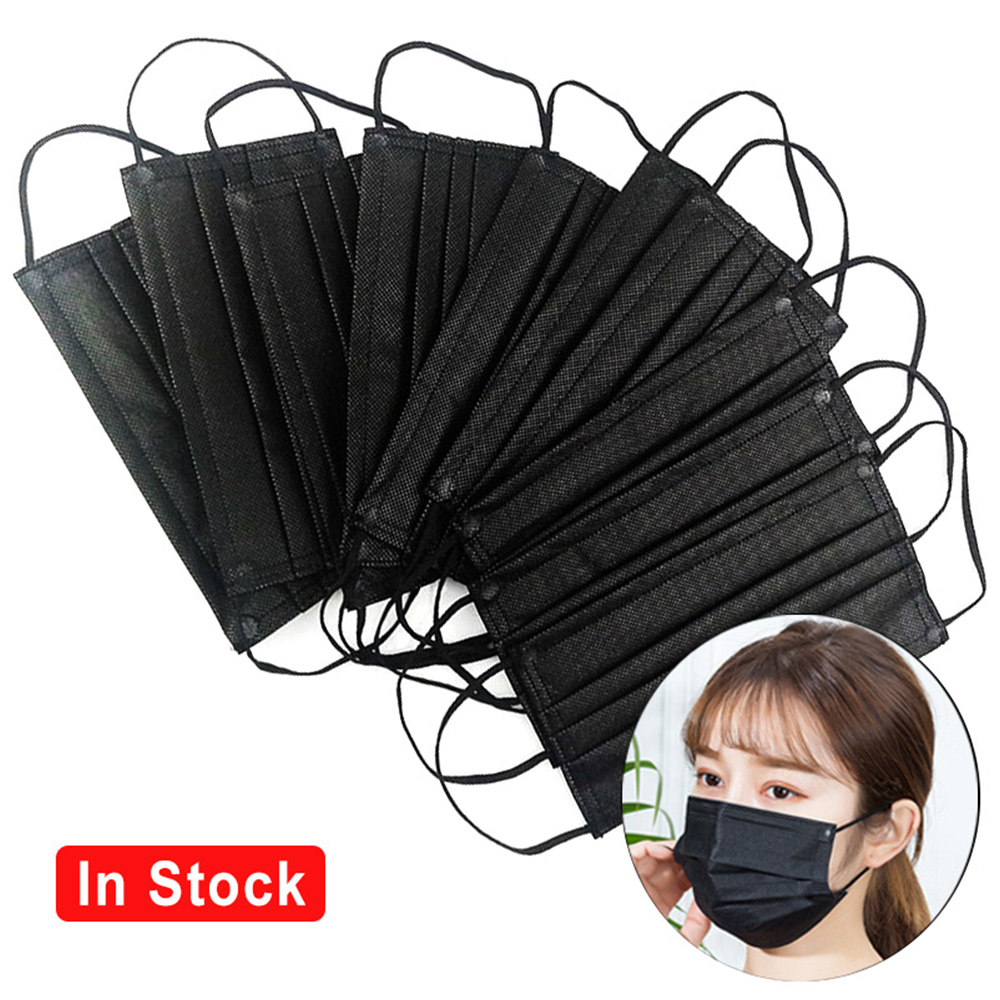 5/10/20/50/60/100Pcs Mouth Mask Dispossable Black Cotton Mouth Face Mask Disposable Non-woven Anti-Dust  Mask