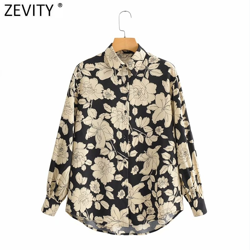Zevity New 2021 Women Fashion Floral Print Casual Blouse Office Ladies Long Sleeve Retro Business Shirt Chic Chemise Tops Ls7478