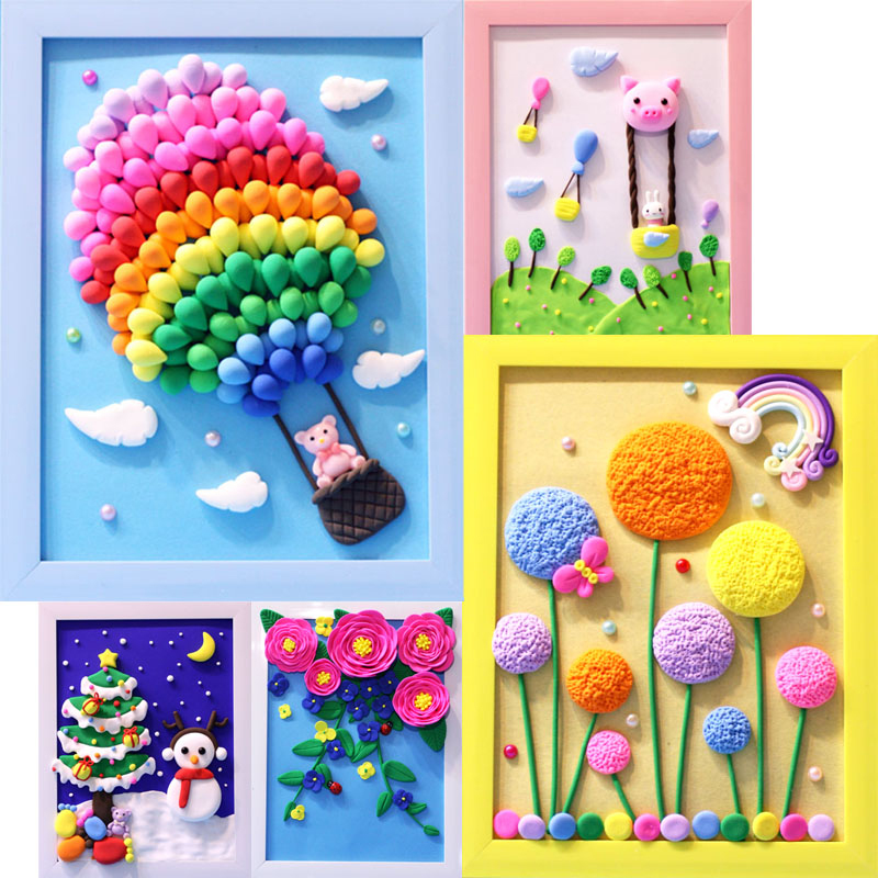 DIY Toys For Children Super Light Weight Clay Photo Frame Set 3D Colorful Mud Christmas Gifts Educational Kids Arts Crafts Toys