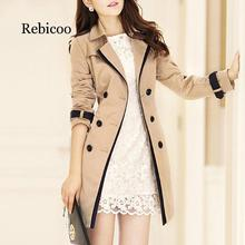 2019 Fashion Women Thin Trench Coat Turn-down Collar Double Breasted Patchwork Long Trench Coat Slim Plus Size Wind coat plus size double breasted patchwork dress