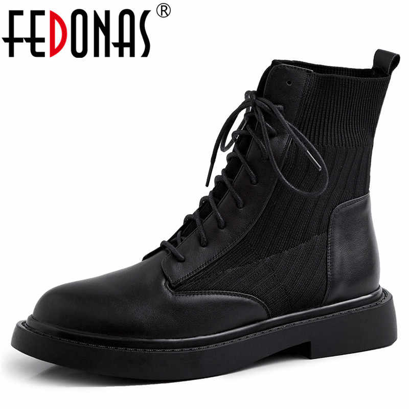 FEDONAS 2020 Genuine Leather Women Cross Tied Side Zipper Ankle Boots Party Casual Shoes Woman Autumn Winter Warm Boots Boots