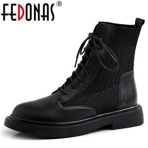 Женские ботильоны с перекрестной шнуровкой FEDONAS, черные вечерние ботильоны из натуральной кожи с боковой молнией, теплая обувь на осень и зи...