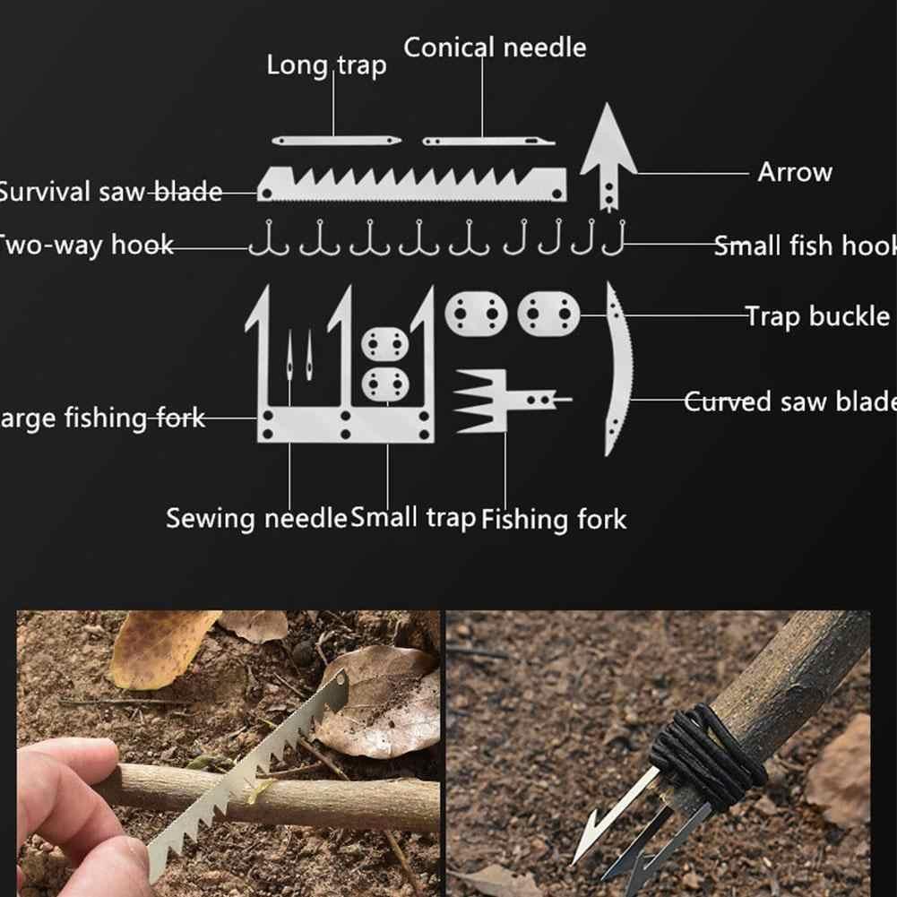 Multifunction Fishhook Survival Card Arrow Awl Needles Blades Hiking Camping US