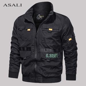 Tactical Military Autumn Jacket Men Zipper Bomber Pilot Jackets Mens Multi Pockets Outwear Windbreaker Male Casual Slim Fit Coat