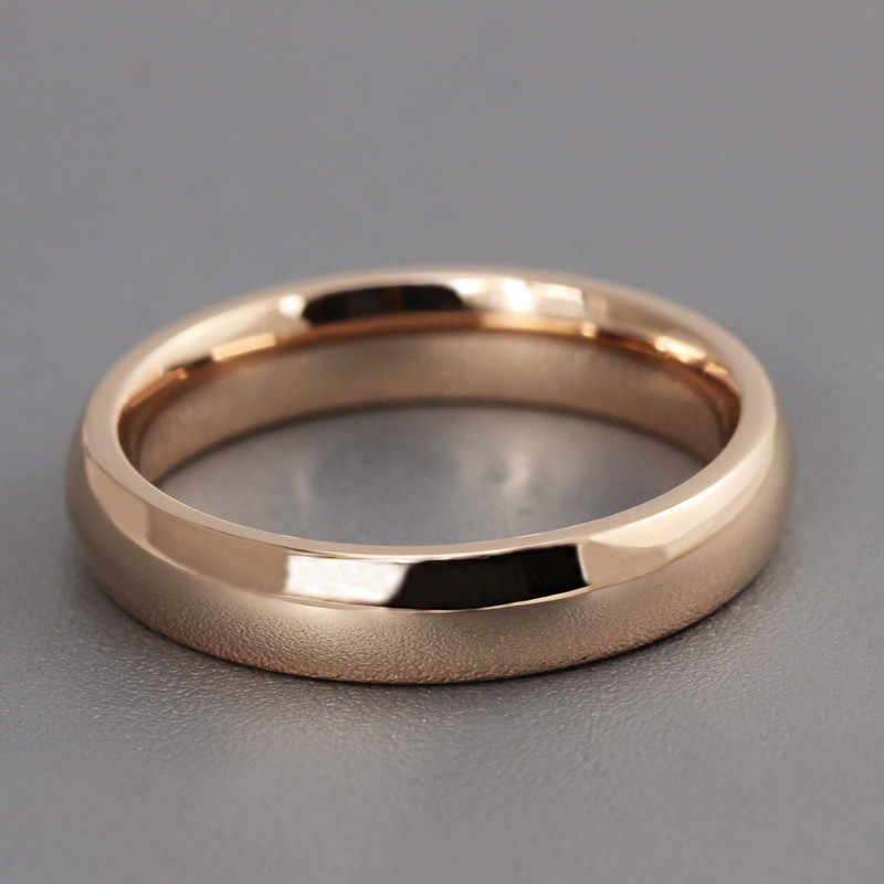 ZORCVENS chaud en acier inoxydable Rose or Anti-allergie lisse Simple mariage Couples anneaux pour homme femme cadeau